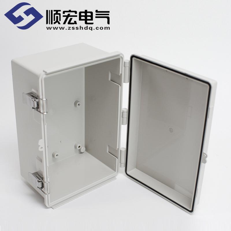 UN-OOO-2030-15 塑料盒 金属门扣塑灶铰链 200X300X150