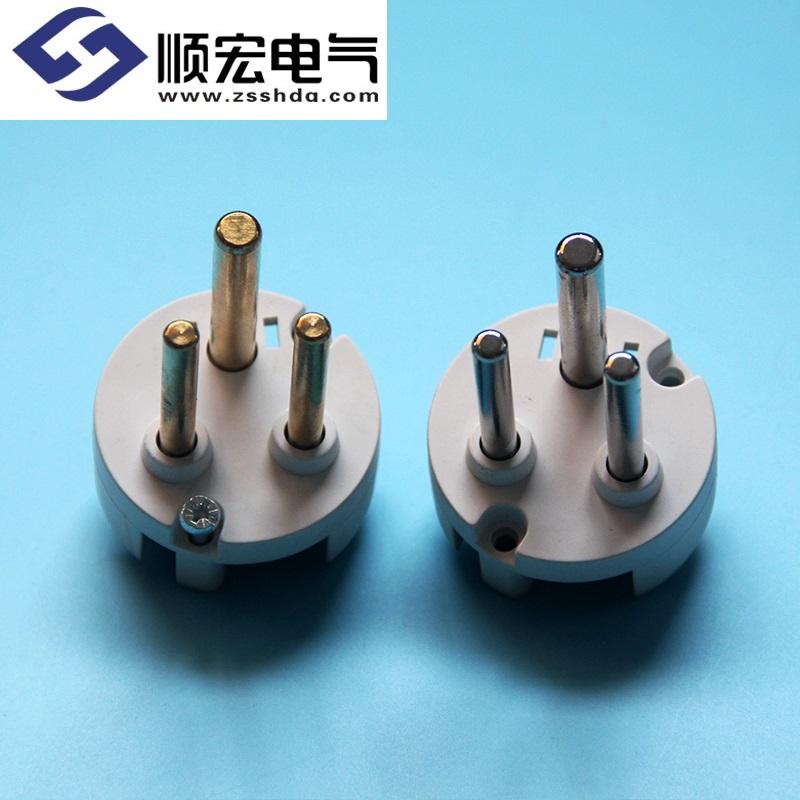 3芯插头芯 高品质黄铜 镀镍铜16A