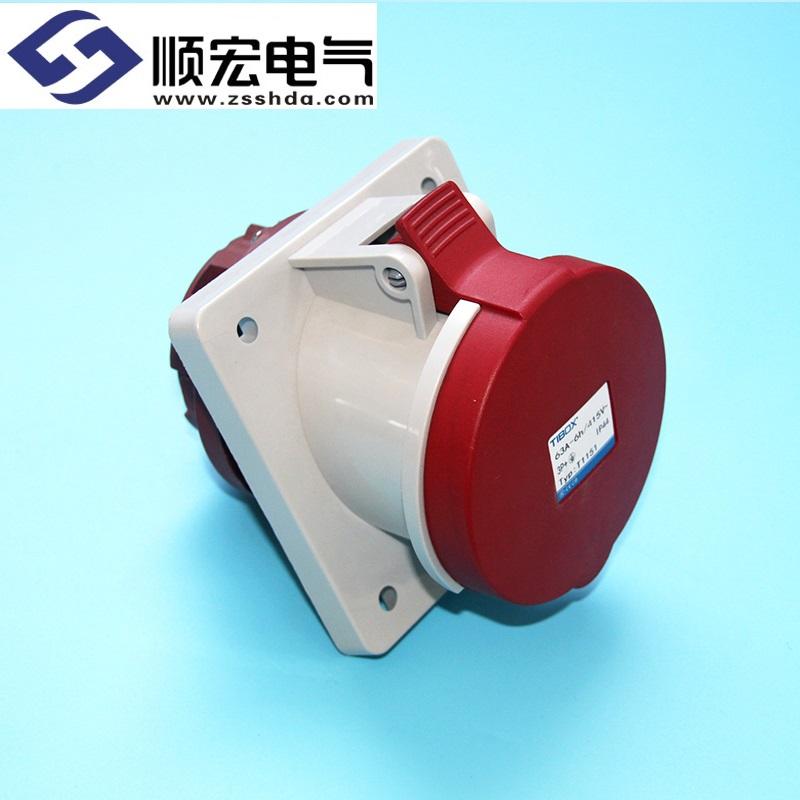 IP44 63A 4芯防水防尘斜插式工业插头插座连接器