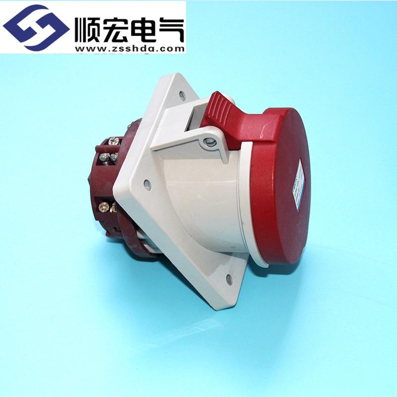IP44 63A 5芯防水防尘斜插式工业插头插座连接器
