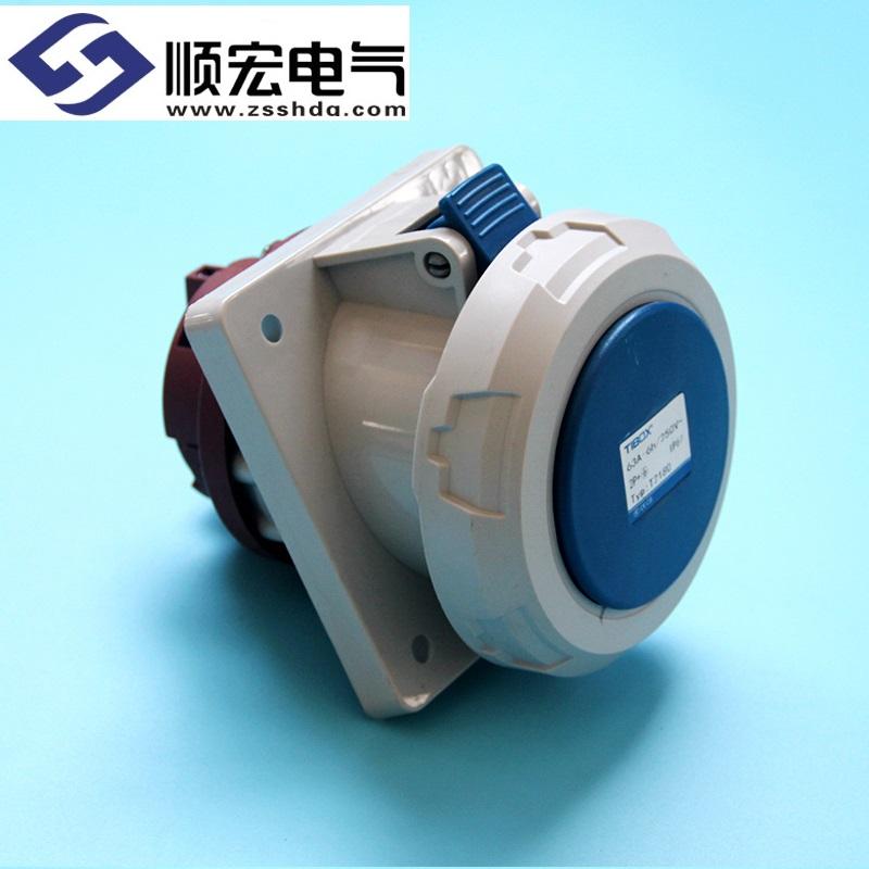 IP67 63A 3芯防水防尘斜插式工业插头插座连接器