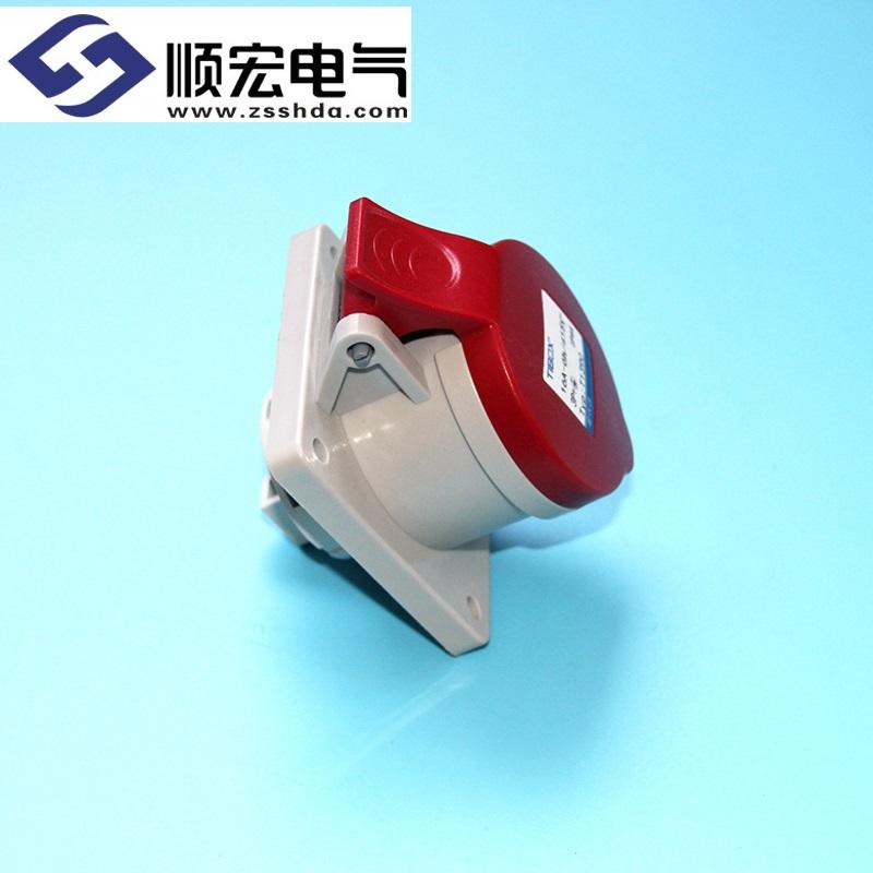 IP44 16A 4芯防水防尘直插式工业插头插座连接器